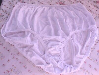 Vtg White 11 Just My Size Nylon Lace Edged Panties (012) Briefs back tag