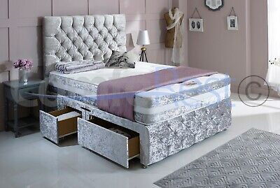 "iMAX COUNTI VELVET CHESTERFIELD DIVAN BED SET + MEMORY MATTRESS + 30"" HEADBOARD"