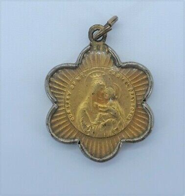 Vintage CATHOLIC Encased SCAPULAR MEDAL OUR LADY of MOUNT CARMEL & sacred heart