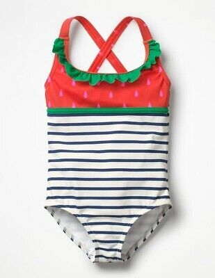 NWT Mini Boden Strawberry Striped Swimsuit Girls 2-3 2-3Y