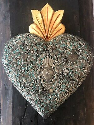 Green MILAGROS SACRED HEART Ex Votos Carved Wood Mexican Folk Art XLG 19""