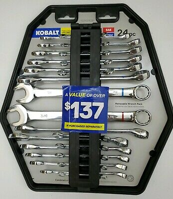 Kobalt 24 pc Combination Wrench Set SAE and Metric Full Size and Mini Size