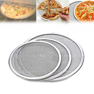 Seamless Aluminum Pizza Screen Mesh Oven Baking Tray Pizza Plate Round 12/14""