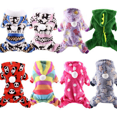 Hot Soft Fleece Dog Clothes Winter Dog Jumpsuit Clothing Warm Dog Coat Pajamas