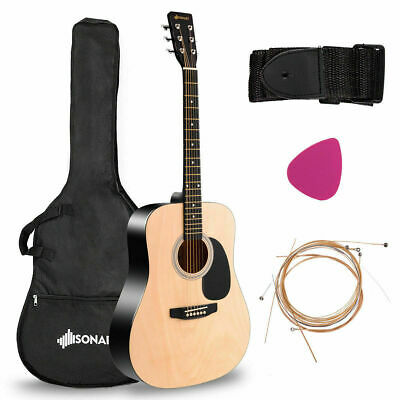 """41"""" Acoustic Folk Guitar 6 String w/Case Pick Strings for Beginners Gifts Nature"""