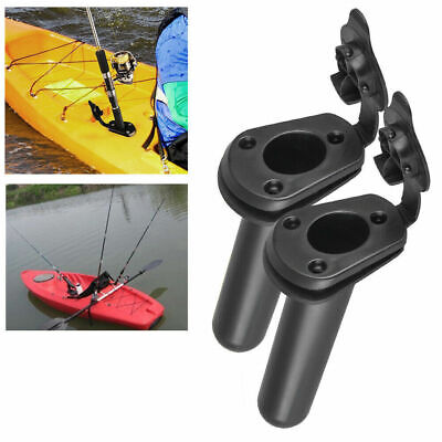 NovelBee 4 Pack of Kayak Deck Plastic Flush Mount Fishing Boat Rod Holders with Cap Cover,Gasket and Mounting Screws