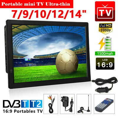10/12/14inch Portable 1080P HD TV Freeview HDMI Digital Television Player UK