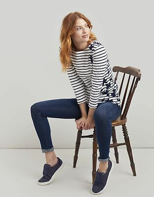 Joules Womens Harbour Printed Jersey Top Shirt - NAVY BORDER FLORAL Size 14