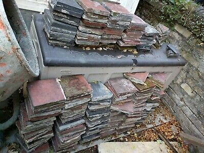 Victorian red and black quarry tiles 6 inch - 120 original reclaimed tiles