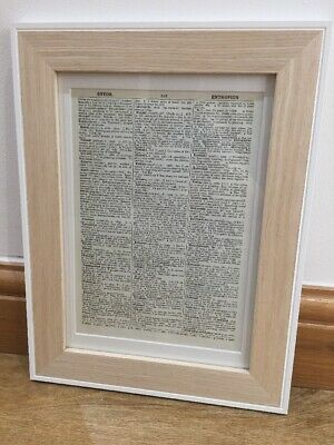 White & Light Wood Picture Frame With Mount To Fit Our Vintage Dictionary Prints