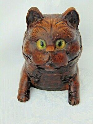 ANTIQUE 1800s BLACK FOREST SWISS HAND CARVED CAT INKWELL with GLASS EYES