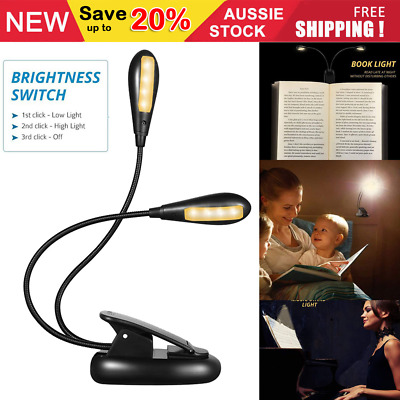 8 LED Reading Light Eye-Care Rechargeable USB Book Lights Dual-Head Light New