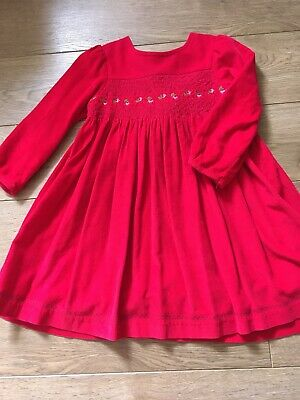 Jojo Maman Bebe Red Cord Christmas Dress Girls Age 3-4