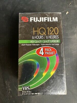 Fuji 4 Pack HQ 120 Blank VHS Tapes, 6 hours Factory Sealed Never Opened Fujifilm
