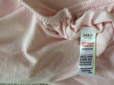 M&S 2 Cot Bed Fitted Sheets Pure Cotton Jersey Light Pink 140cm X 70cm