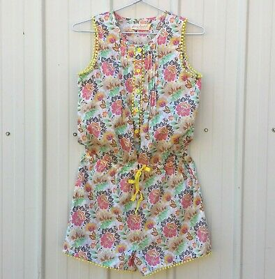 Collette Dinnigan Girls Size 14, Floral Cotton Playsuit, New Without Tags.