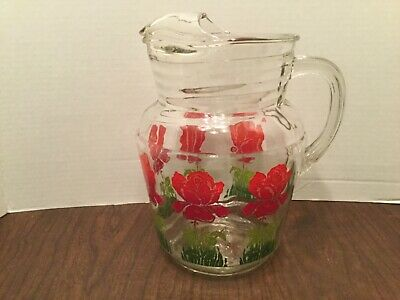 Vintage Glass Water Pitcher Beautiful With Ice Lip And Flower Decorated