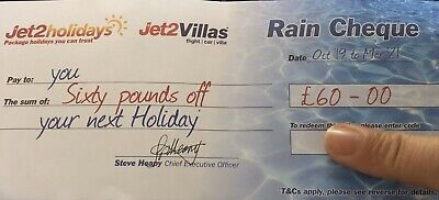 1 X NEW Jet2Holidays £60 Rain Cheque Voucher - October 2019 - March 2021