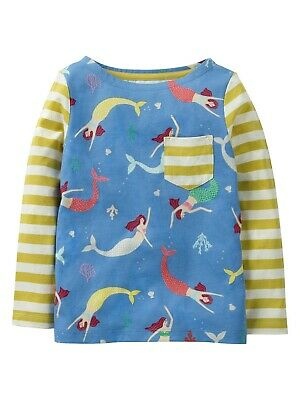 New MINI BODEN Hotchpotch Girls Kids Mermaid Cotton Long Sleeve Top Ages 2 - 12