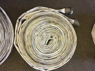 "1  1 1/2"" X 75' Lay-Flat White Mill Water Discharge Hose Assembly"