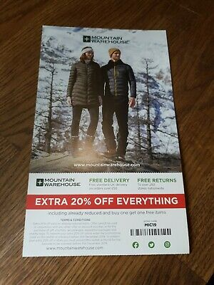 Voucher For 20% Off At Mountain Warehouse Instore/Online Until 31.12.19
