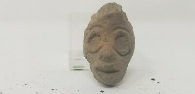 Ancient Authentic Pre-Columbian Carved Clay Face/Head #4 South America or Mexico