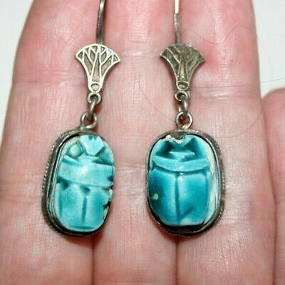 Vintage Art Deco Egyptian Revival Turquoise Faience Scarab Silver Drop Earrings