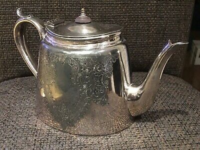 Silver Plated Teapot Britannia Metal C.1850 Chased Pattern(Box P)