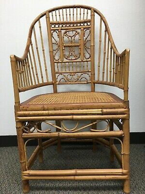 Four Pavilion Vintage Chinoiserie Style Rattan Bamboo & Cane Arm Chairs Set of 4