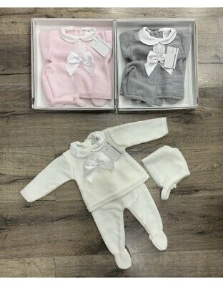 Newborn Baby Boy Girls Spanish Romany Knitted Set Jumper 3 Piece Layette Outfit
