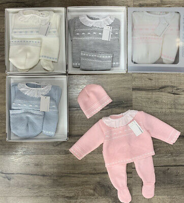 Baby Boys Girls Spanish Romany Set Knitted Jumper Trousers Hat Outfit 0-3 months