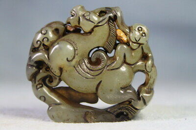 Collectable China Decorative Precious Jade Carved Monkey Horse Exquisite Pendant