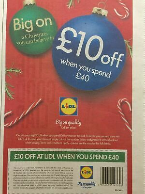 Lidl Shopping Supermarket Discount Voucher Coupon 2 X £10 off - FAST FREEPOST