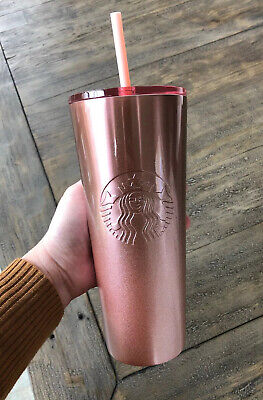Starbucks 2019 rose gold pink With Glitter tumbler Holiday Xmas HTF Cold Cup