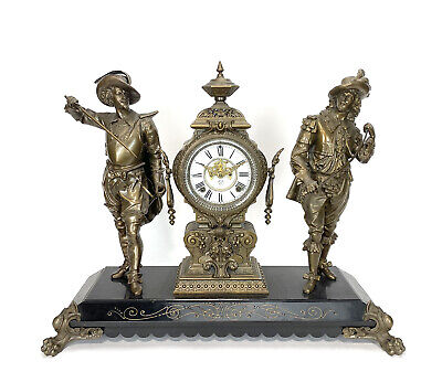 Original 1894 Ansonia Don Caesar & Don Jun Double Figure Bronze Mantel Clock