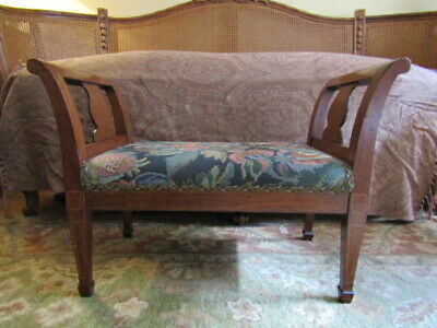 Antique Small Wooden Bench with Brunschwig Tapestry Upholstery