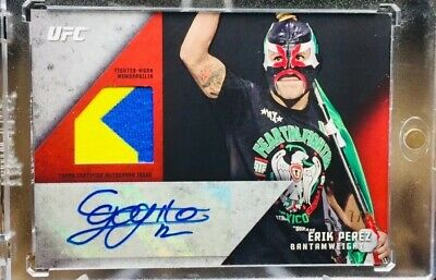 2015 Topps UFC/Knockout ~ ERIK PEREZ (#7/8)~(RUBY/RED!) AUTO RELIC! 2 COLOR!!!
