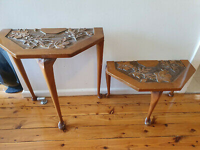Antique half tables - hall tables - timber - Set of 2