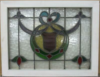 "MIDSIZE OLD ENGLISH LEADED STAINED GLASS WINDOW Stunning Bow & Swag 25.75"" x 20"""