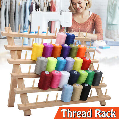60 Spools Wooden Sewing Thread Rack Organizer Folding Embroidery Stand Holder