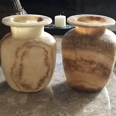2 Egyptian Hand Carved Alabaster Vase National Stone