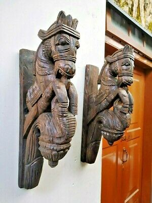 Wall Bracket Horse Sculpture Corbel Pair Wooden Vintage Statue Wall Shelf Decor
