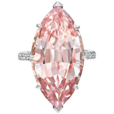 Elegant Rings Women 925 Silver Jewelry Marquise Cut Pink Sapphire Ring Size 6-10