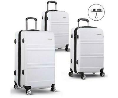 3 Piece 4 Wheels ABS Hard Case Shell TSA Lock Suitcase Luggage Travel Set White