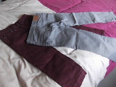 Girls trousers x 2 burgundy and grey.