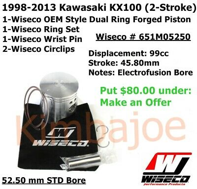 Wiseco Piston Kit for 1998-13 Kawasaki KX100-52.50mm 651M05250
