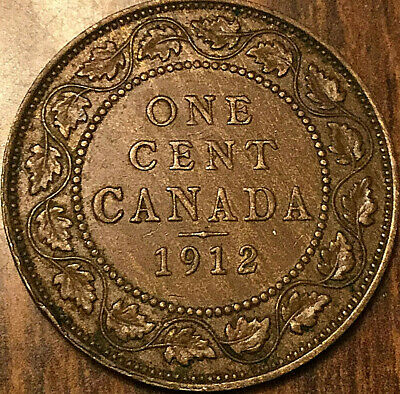 1912 CANADA LARGE CENT LARGE 1 CENT PENNY COIN - Nicer example!