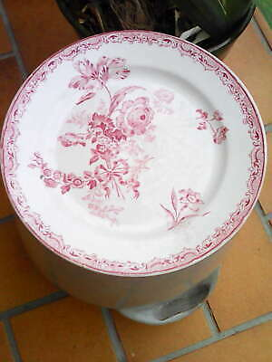 Ancienne Assiettes Plate Faience Sarreguemines Fontanges Rouges 23,5 Cm.19 Xix