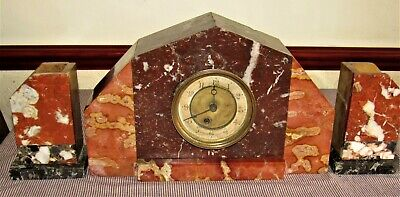 Nice Art Deco French Marble Mantle Clock & Garniture To Restore
