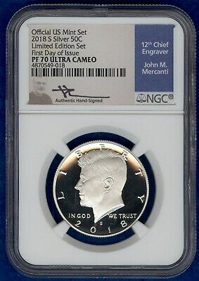 2018 S Proof Silver Kennedy Half Dollar, NGC PF 70 Ultra Cameo, 1st Day of Issue